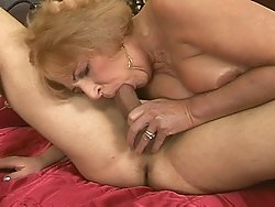Busty grandma fucking with her young boyfriend