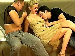 Sexy mature slut banged hard by two young studs