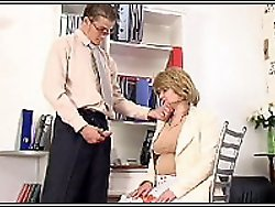 Tall guy undressed and fucked milf right at office