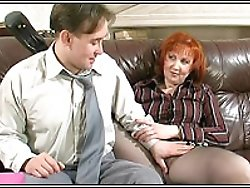 Careful milf secretary helps boss to relax with love