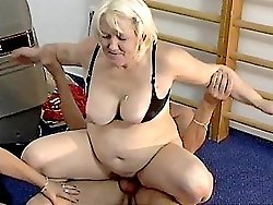 Chubby grannies take turns riding cock