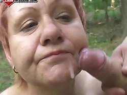 mature cunt eating cum in the woods