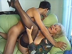 Stud seduced by horny old slut