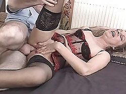 Horny cock-loving grandma enjoys deep fucking