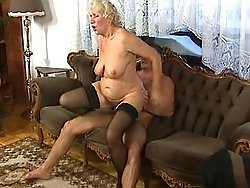 Three dirty grannies take on two dicks
